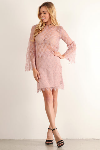 Chantel - Lace Floral Patterned Bell Sleeve Top & Skirt Set