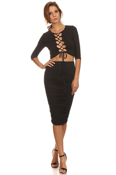 Laced Up Bust Top and Pencil Skirt Set-12