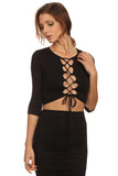 Laced Up Bust Top and Pencil Skirt Set-2