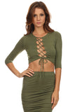 Laced Up Bust Top and Pencil Skirt Set-7