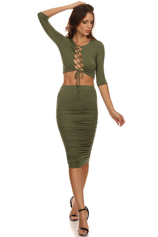 Laced Up Bust Top and Pencil Skirt Set-6