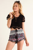 Floral Crochet Laced Up Cropped Shirt Top-7