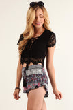 Floral Crochet Laced Up Cropped Shirt Top-8