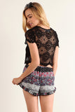 Floral Crochet Laced Up Cropped Shirt Top-10