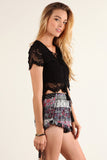 Floral Crochet Laced Up Cropped Shirt Top-9
