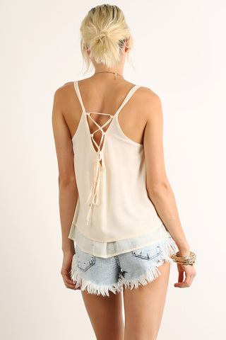 Laced Up Back Detail Flared and Layered Cami Top-1