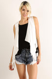 Courtney - Short Faux Suede Fringed Vest