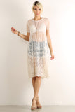 Crocheted Floral Sheer Mesh Overlay Dress-3