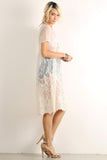 Crocheted Floral Sheer Mesh Overlay Dress-4