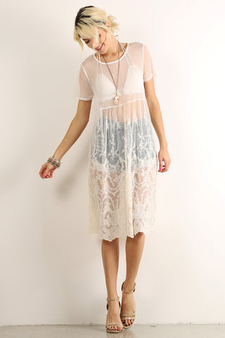 Crocheted Floral Sheer Mesh Overlay Dress-1