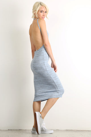 Open Back Midi Knit Dress-3