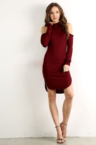 Melinda - Mock Neck Racer Back Cold Shoulder Mini Dress