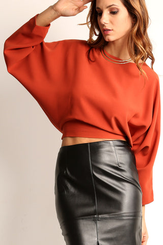 Tie Back Batwing Crop Top-2