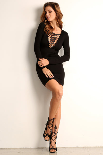 Corset Style Long Sleeve Dress-2