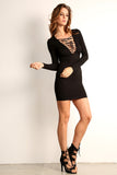 Corset Style Long Sleeve Dress-3