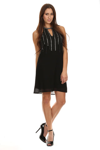 Black Beaded Halter Party Dress-1