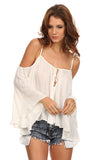 Batwing Sleeve Off Shoulder Top-2