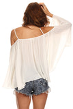 Batwing Sleeve Off Shoulder Top-4