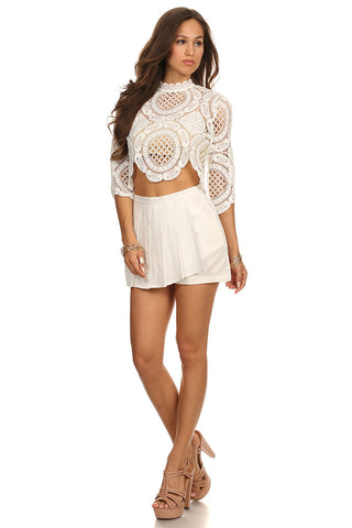 Victorian Mock Neck Crochet Crop Top-1