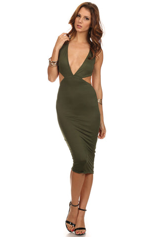 Body Midi Dress with Cut Out Sides-1