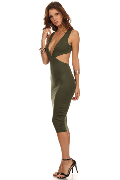 Body Midi Dress with Cut Out Sides-3