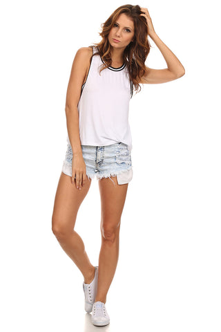Knit Tank Top with Striped Trim-1