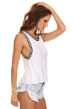 Knit Tank Top with Striped Trim-4