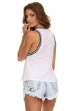 Knit Tank Top with Striped Trim-5
