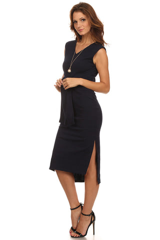 Sweater Tie Front Midi Dress-1