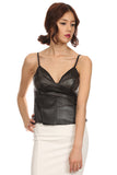 Faux Leather Laser Cut Peplum Top-2