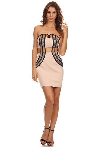 Nude Strapless Dress with Cut Out and Lace-1