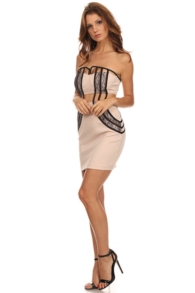 Nude Strapless Dress with Cut Out and Lace-3