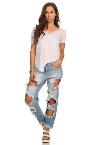 Distressed Boyfriend Mid-rise Jean-1