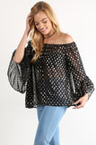 Melly - Off Shoulder Metallic Polka Dot Chiffon Blouse