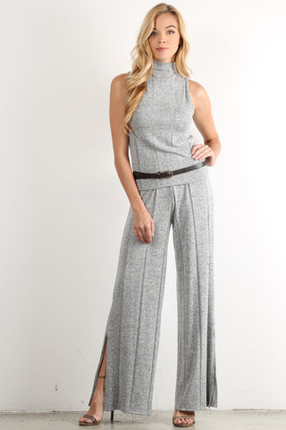 AnnaMaria - Wide Striped Knit Sleeve Mock Neck Top and Pants Set