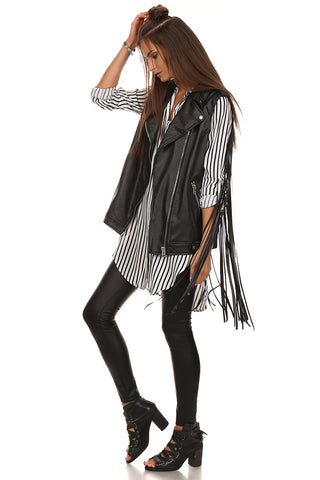 Black Faux Leather Fringed Vest-2