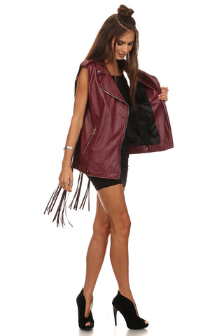 Burgundy Faux Leather Fringed Vest-2