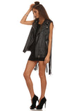 Black Faux Leather Fringed Vest-8