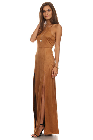 Faux Suede Laced Up Maxi Dress-1