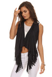 Short Faux Suede Fringed Vest-9