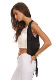 Short Faux Suede Fringed Vest-10