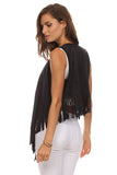Short Faux Suede Fringed Vest-11