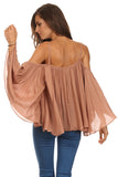 Batwing Sleeve Off Shoulder Top-11