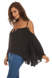 Batwing Sleeve Off Shoulder Top-15