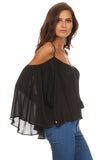 Batwing Sleeve Off Shoulder Top-16