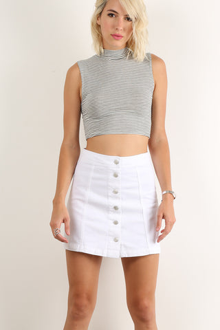 JoMelissa - Bull Denim Button Down A-Line Mini Skirt
