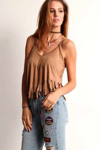 Faux Suede Fringed Cami-8