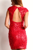Triangle Back Sequined Mini Dress-5