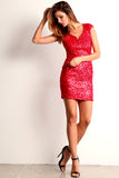 Triangle Back Sequined Mini Dress-2