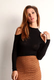 Faux Suede Laser Cut Pencil Skirt-12